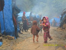 Children in IDP Camp 6, which has grown in recent months due to fighting near Pang Wa.
