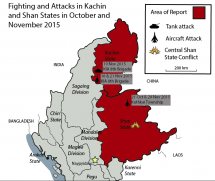 Locations of Major Aerial and Tank Attacks in Kachin State and Northern Shan State; Location of heightened aggression in Central Shan State, where clashes have resulted in thousands of new IDPs.