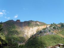 View of Maw Chee showing scars from shaft mines owned by Yay Toh Kyaw Company.