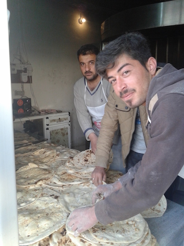 Bread shop within 10 meters of attack site, operated by one of the few families who have moved back to the city. All the equipment, which had survived the ISIS occupation, is now contaminated.