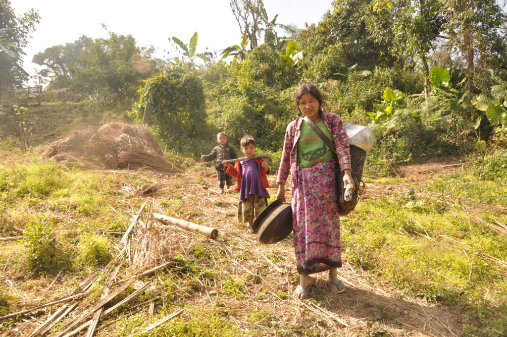 Women and children heading to the fields to tend to opium crops.