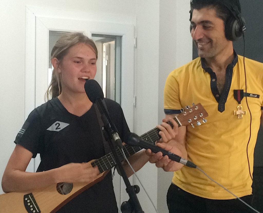 Sahale sings for Syria at ADRA radio, Qamishli, Syria