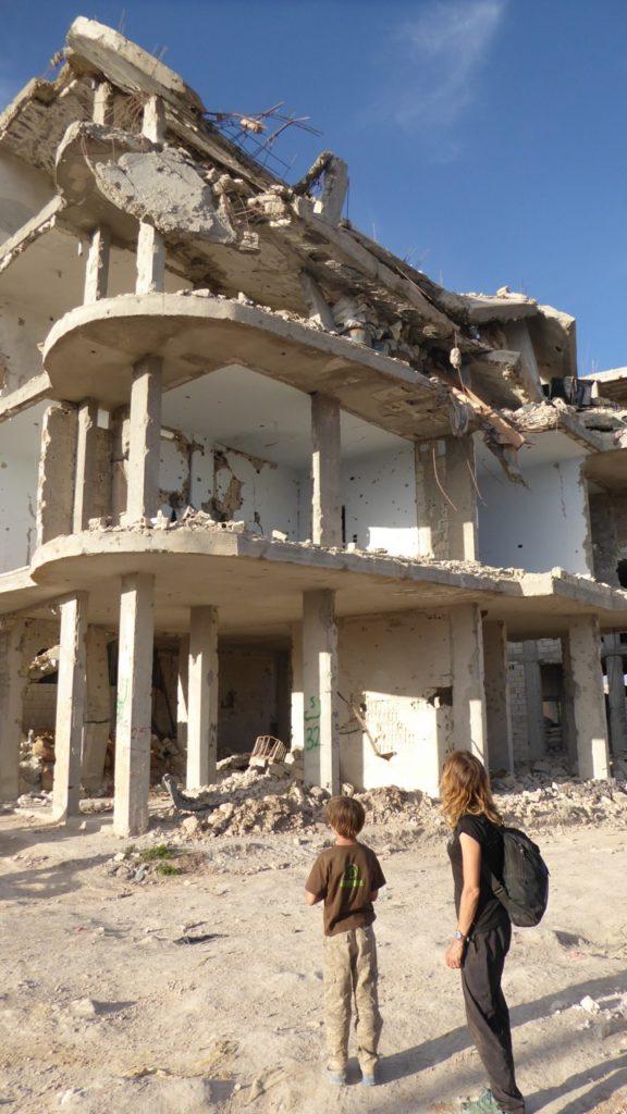 Karen and Peter in downtown Kobani.