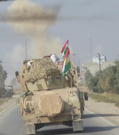 One of the ISIS Road side bombs (IED) detonates as we advance to Faizalia.
