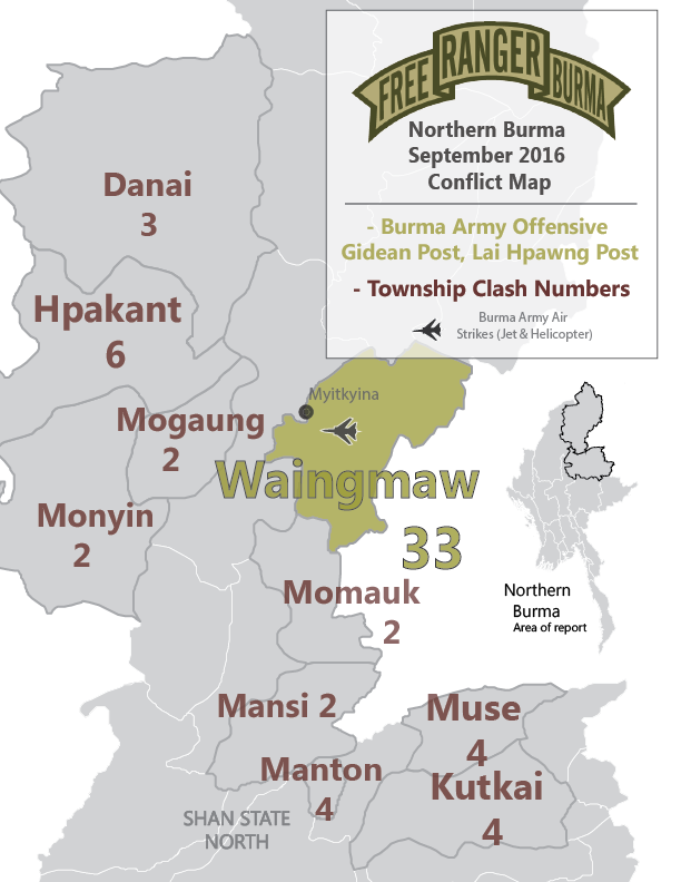 Map of Clashes and Airstrikes by the Burma Army.