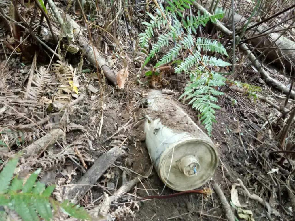 Unexploded bomb dropped from a Burma Air Force jet.