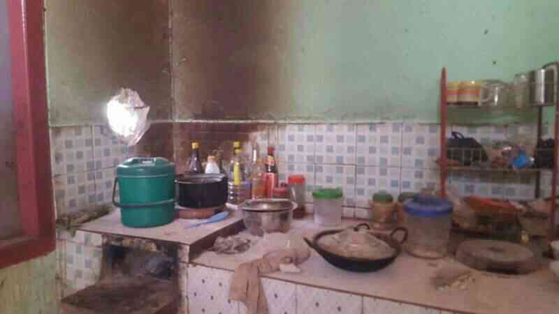 Kitchen destroyed by heavy weapons fire.