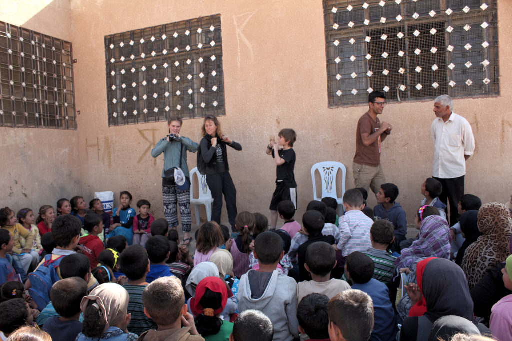 GLC event outside a school in Mambij. Photo: FBR.