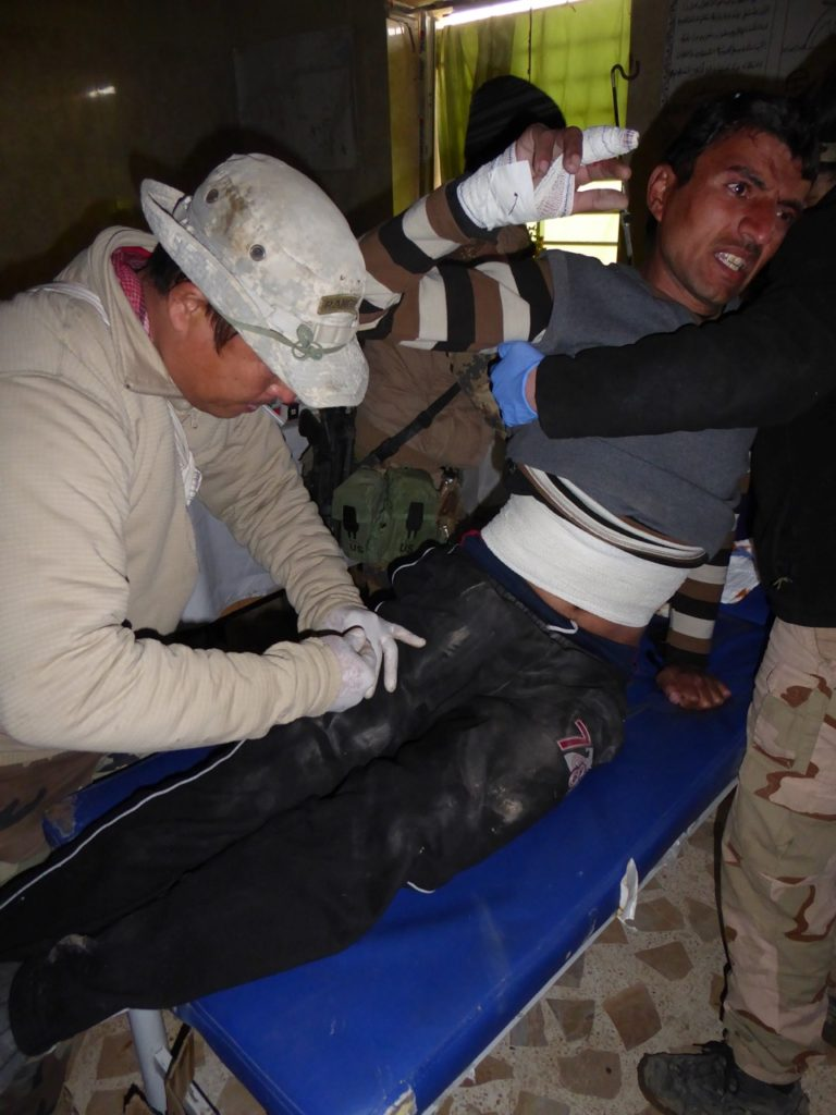 Eliya treats civilian wounded by ISIS drone
