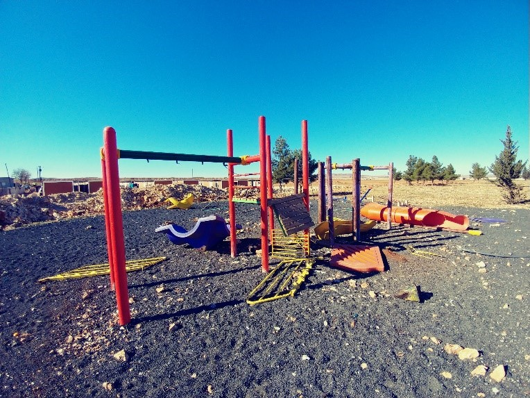 Playground that was delivered for the orphans in Kobane but was never assembled