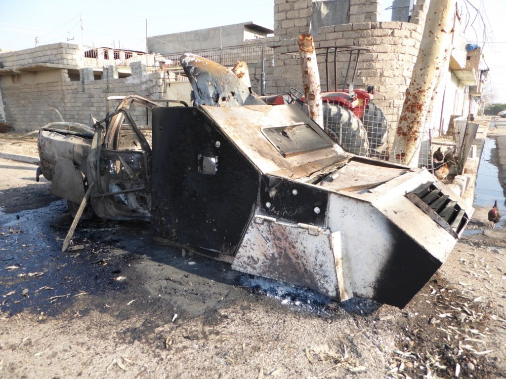 ISIS suicide car destroyed by Iraqi forces.