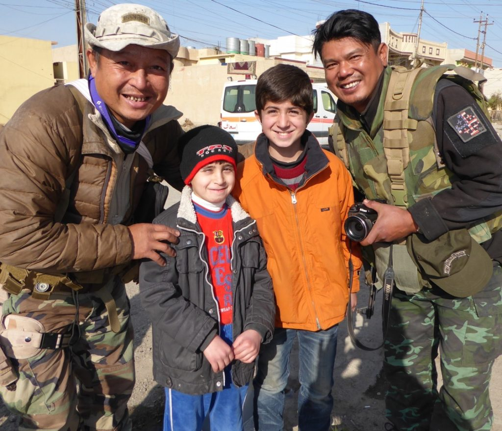 Mosul children happy to be free. Eliya and Zau Seng, FBR from Burma who share their joy after two years of missions here.