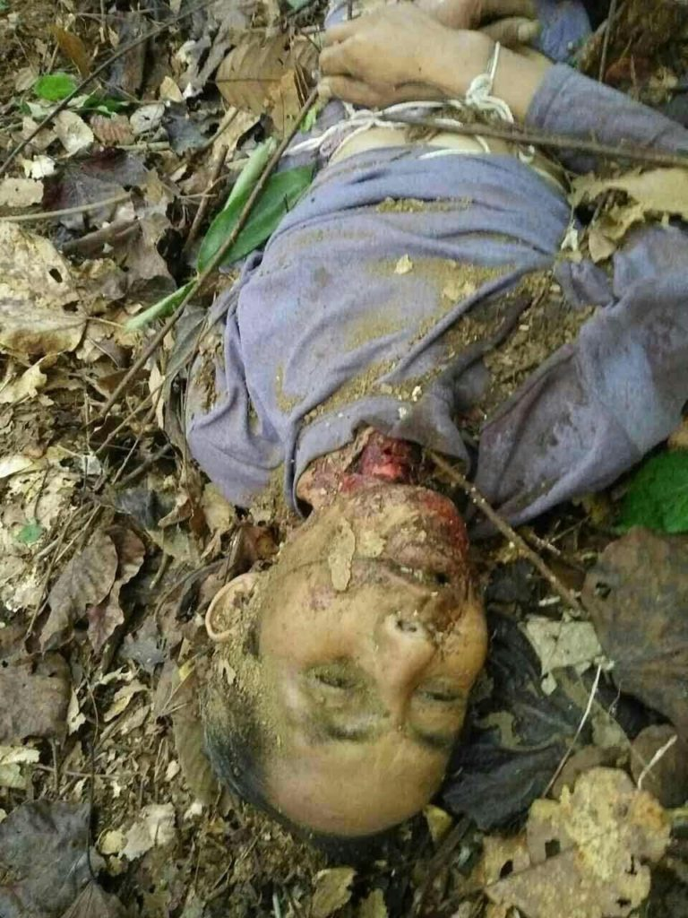 Ja Naw's body after having his throat cut by the Burma Army. (Photo courtesy of KIA)