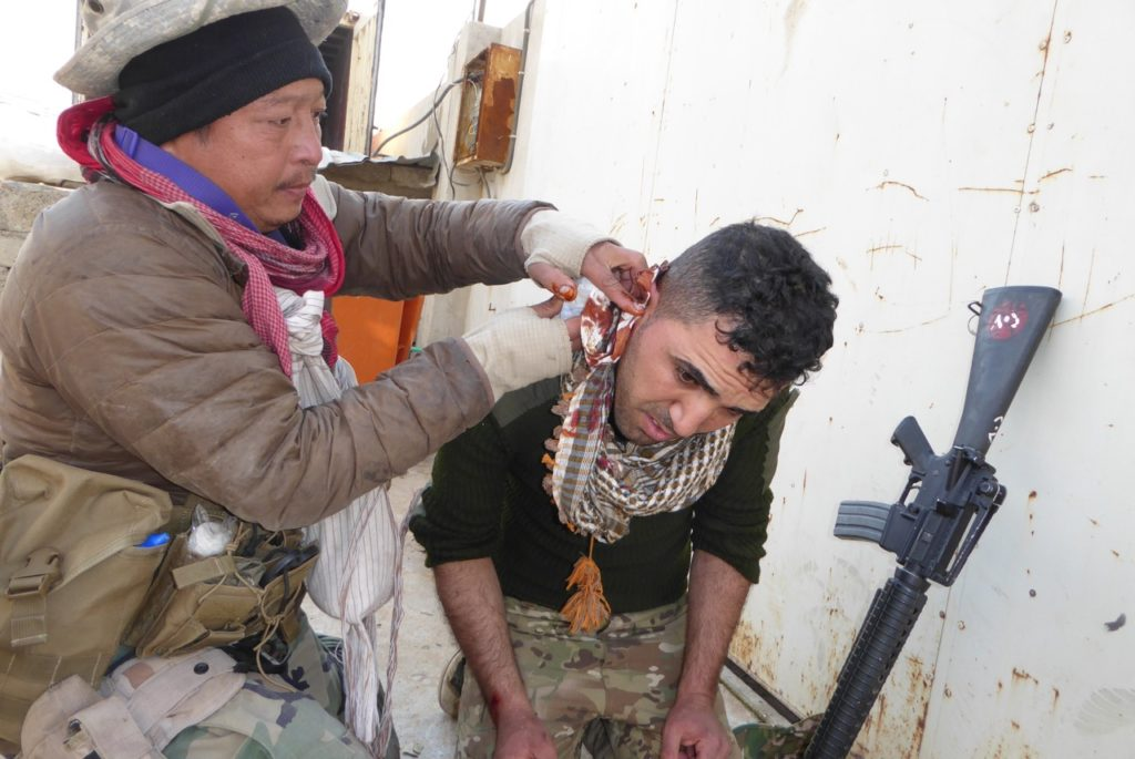 Eliya, Karen FBR medic treats Iraqi soldier wounded by ISIS suicide bomber NE Mosul