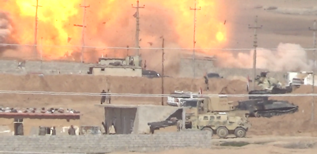 ISIS suicide car (VBED) explodes into an Iraqi Army position west of Mosul.