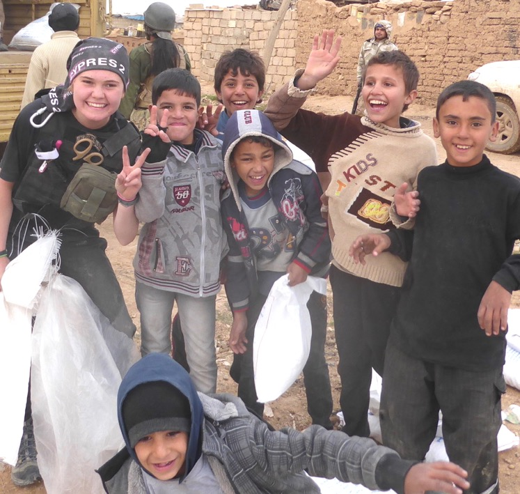 Sahale and friends in Mosul during food distribution - ISIS attacked most distributions but could not stop them.