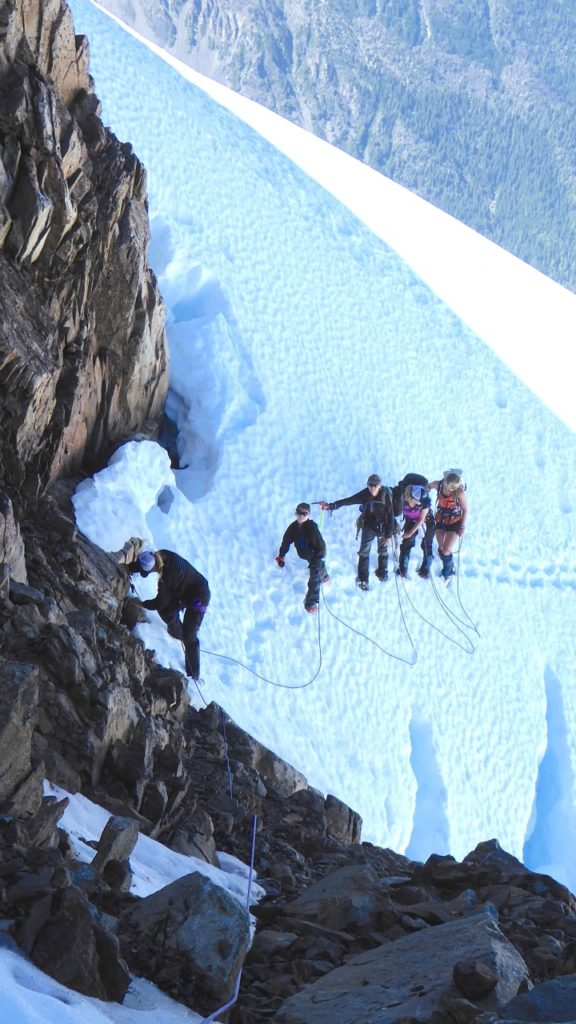 Sahale leads ice traverse on way to the summit of Olympus on family climb WA, USA