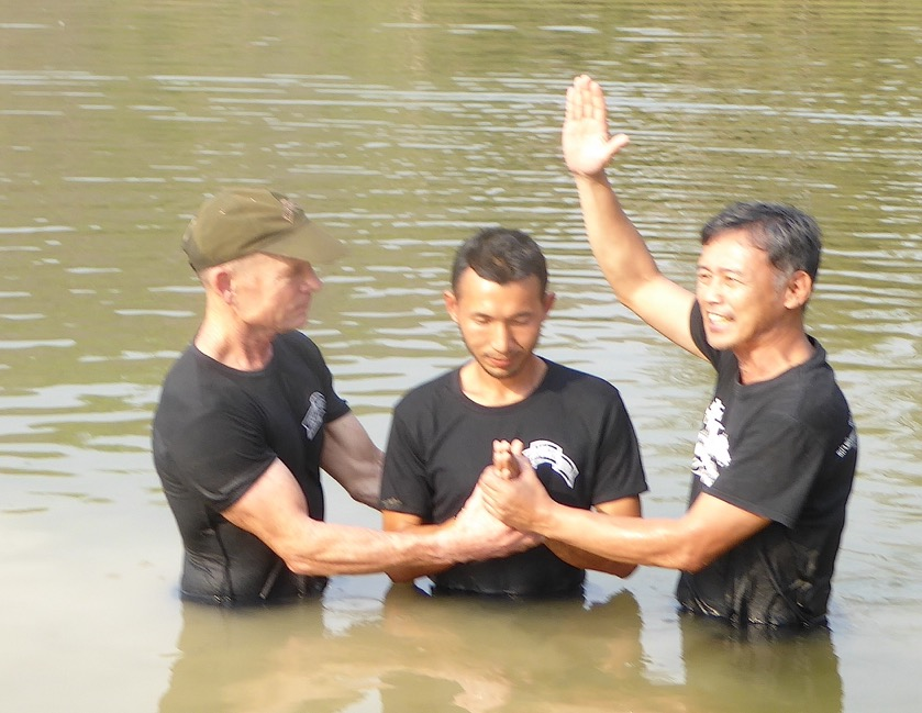 Saw Hsa Nu, FBR Karen team leader baptized by pastor Edmund and Dave