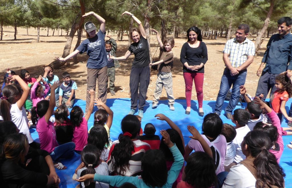 Suu, Karen, Pete with Bashir and team doing Good Life Club for orphans in Syria