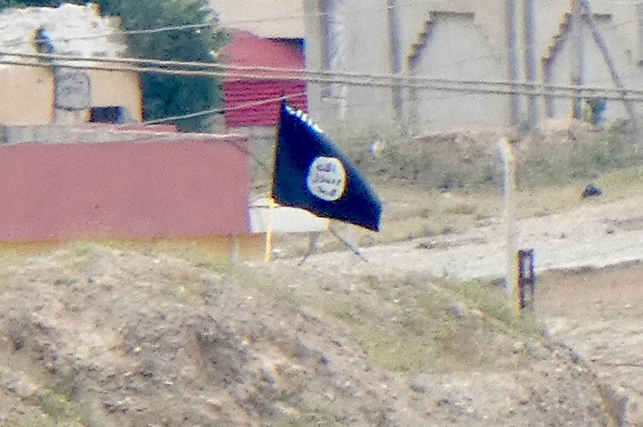 ISIS flag in ISIS position to our front.