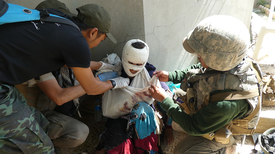 Treating a mother shot by ISIS.