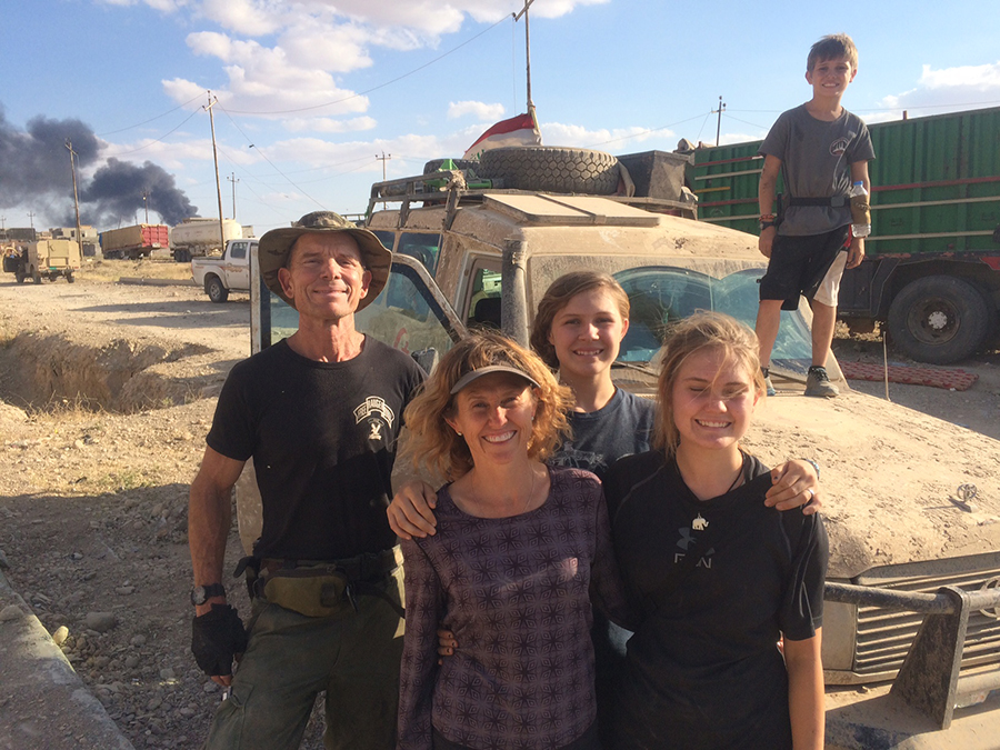 Armored ambulance and our family in the back line. Thanks for all of you who help us be here - physically and spiritually!