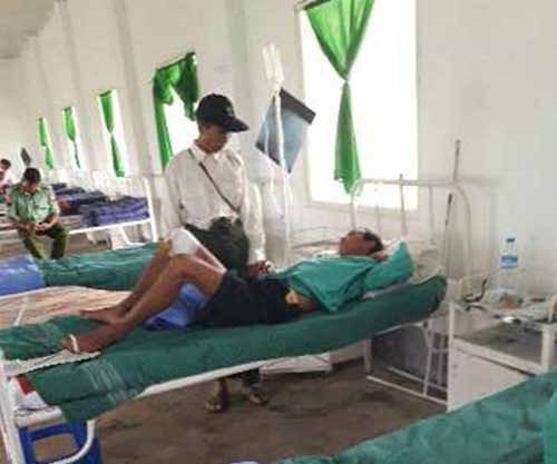 Mr. San Nai Zing healing in the Burma Army military hospital in Danai.