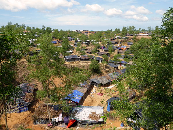 Makeshift living quarters in the refugee camps outside of Cox's Bazaar, Bangladesh.
