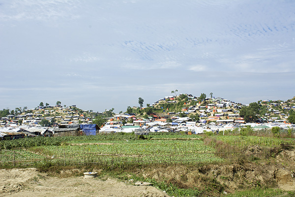 One of the many refugee camps covering the hills in southern Bangladesh.
