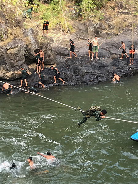 The swimming/rappelling/rope bridge station at training.