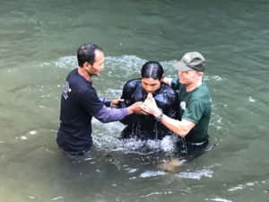 Joseph, Karen FBR medic and part of the international team who has served in Iraq and Kurdistan, is baptized on Christmas Eve.