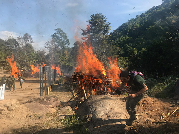 The burning village of the attack simulation for the final exercise.