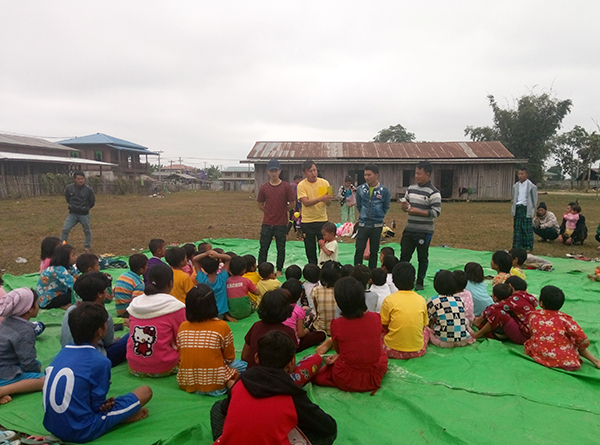 Rangers conducting a Good Life Club program in Kachin State.