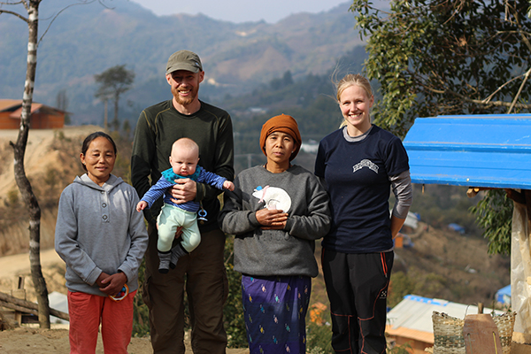 Jesse with his wife, Benita, son, and Kachin friends.