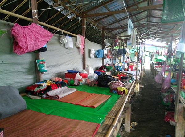 Housing inside a Kachin IDP camp.