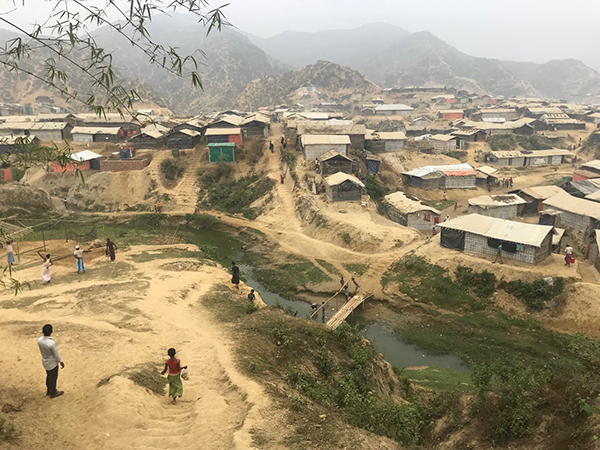 One of the Rohingya refugee camps on the edge of denuded hills.