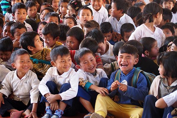 Kachin IDP children laughing during a GLC program.