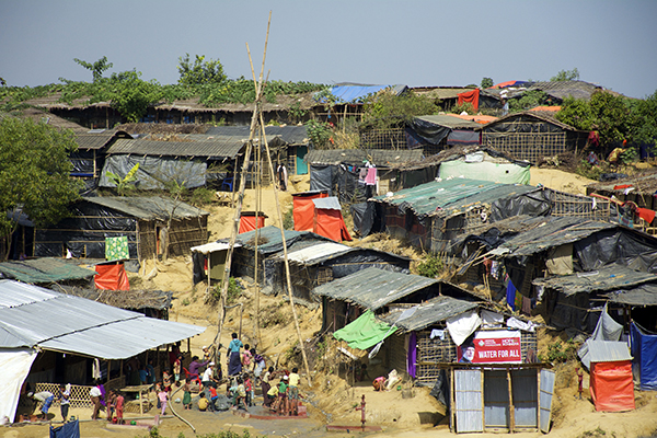 A water collection point in a Rohingya refugee camp. The upcoming rainy season will create more problems for the make-shift living infrastructure.