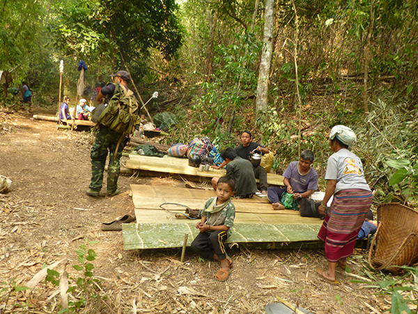 Displaced Karen villagers and their makeshift living quarters in the Burma jungle.