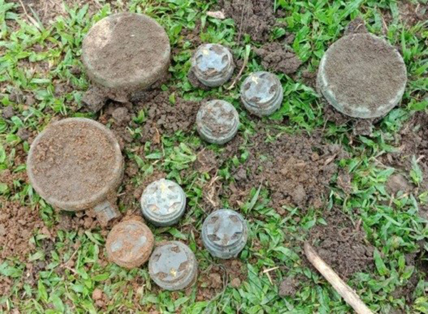 Mines unearthed from around the Administration Office in Pung Swi Yang.