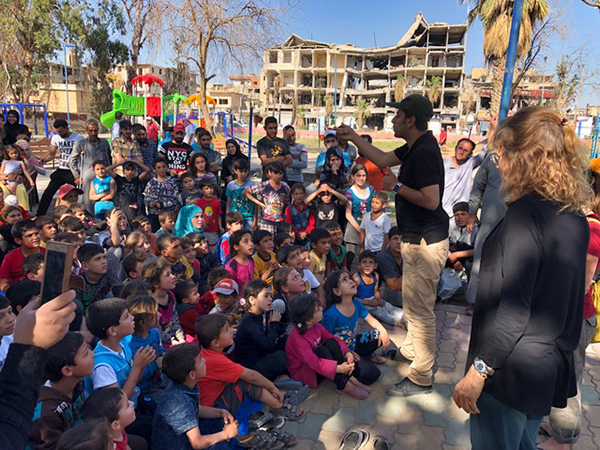The children and onlookers during the Raqqa kids program.