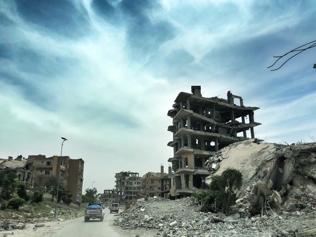 Our team drives into Raqqa, still largely destroyed.