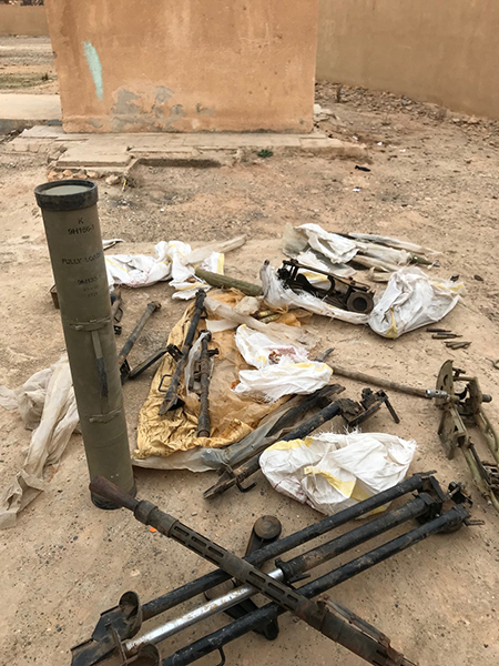 ISIS weapons cache we dug up at a school in Tabqa across the Tigris River from Raqqa