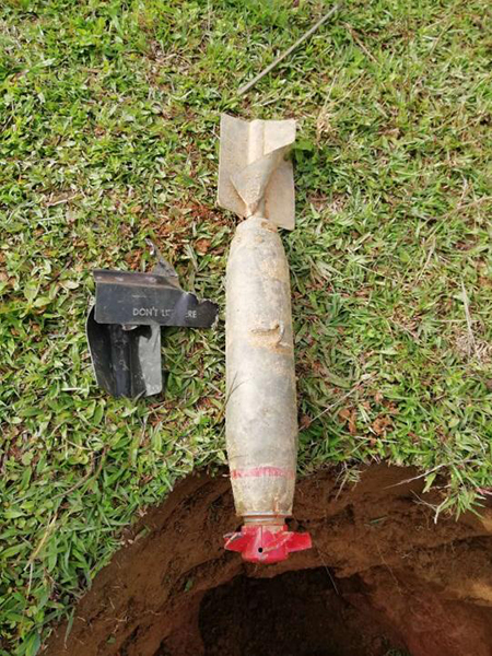 Unexploded 16-inch bomb