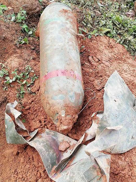 Unexploded 27-inch bomb