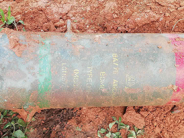 Burma Army markings visible on the larger, unexploded bomb dropped on Bawmwang Village.