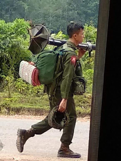 A Burma Army soldier moving to Ta Khee Ko, an old Burma Army position camp, on September 11, 2018.