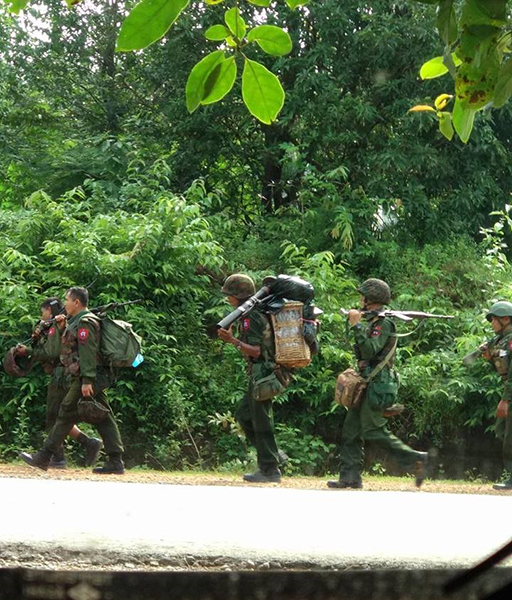 Burma Army LID 88 moving through Buthaw Township on September 6, 2018.