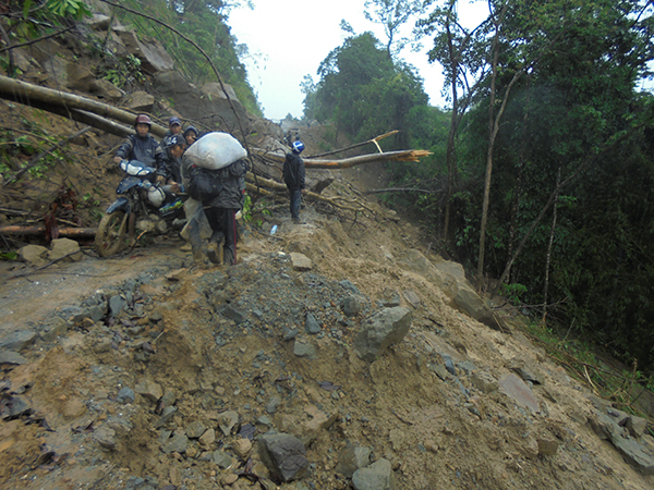 A collapsed road in the Naga region.