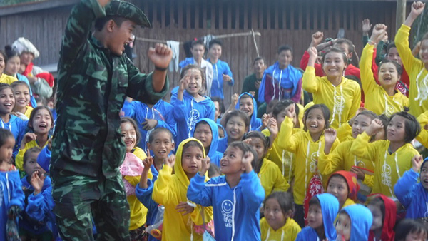 The teams visit local villages to practice Good Life Club, and give a program to the kids.